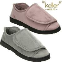Dr Keller Ladies Slippers Fully Adjustable Strap Diabetic Orthopaedic Fleece New