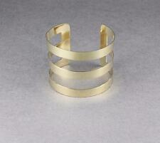 "Gold cuff bracelet 3-line smooth metal bangle cuff 2"" wide shiny bracelet"