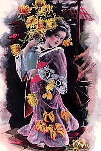 Greetings~MISS CHRYSANTHEMUM~GIRL in GEISHA ROBES~SILVER~Antique UDB Postcard
