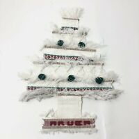 White Aruba Christmas Tree Souvenir Woven Embroidered Wall Hanging 20""