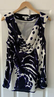 KENNETH COLE BLUE 100% SILK COWL BLOUSE TOP UK 8
