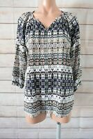 Jump Tunic Top Popover Shirt Blouse Size 10 White Orange Purple Y Neck