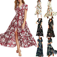 Sexy Women's Floral Printed Button Up Short Sleeve Split Flowy Party Long Dress
