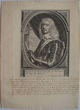 PETRUS DE JODE (1606 -1674): Portrait de Francois de Vendosme, Duc de Beaufort e