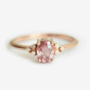 Luxury Oval Cut Pink Sapphire Jewelry Women 925 Silver Rings Gifts Size 6-10