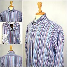 TAILORBYRD Men's Pin-Striped Flip Cuff Long Sleeve Dress Shirt SZ XL