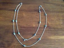 925 STERLING SILVER BLUE STRAND LONG NECKLACE 200 CM N-2042