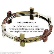 """LORD'S Prayer Stretch Bracelet Tri Tone CROSS-Abbreviated Prayer Card-3/4"""" W"""