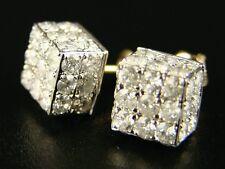 Mens Ladies Ice Cube Big Diamond Stud Earrings 4.25 Ct
