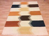 Cream & Multi Colour Modern Handwoven Wool Kilim Dhurrie Rug 167x237cm 60% OFF