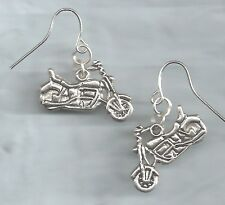 Motorcycle earrings-double sided, solid silver metal charms, drop/dangle/hook