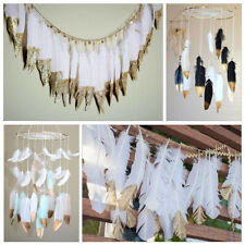 50 Gold Dipped White Natural Goose Feather Clothing Dresses Trimming Accessories