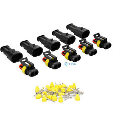 5 Set Auto Waterproof Electrical Wire Connector Plug 2 Pin Way Terminals HID US