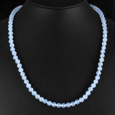 FINEST 150.00 CTS NATURAL UNTREATED BLUE CHALCEDONY ROUND BEADS NECKLACE GEMS