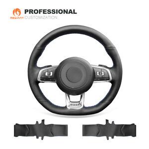 Black Genuine Leather Steering Wheel Cover for VW Golf 7 GTI Golf R MK7 Polo GTI
