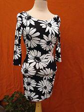 Jy( Jimmy Yoo ) Designed Black And White Daisy,Long Sleeve, Mini Dress,s.10/Smal