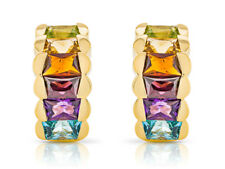 Multi Colour Genuine 9.00carat Weight Yellow Gold 18ct. Pin- Clip Earrings