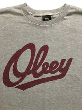 Obey Mens Cursive logo Shepard Fairey Grey T Shirt Sz. M