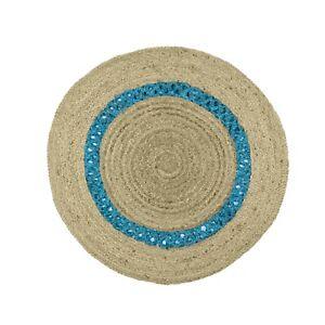 Modern Rug 100% Natural Jute Round Rugs for Living Room Reversible Rag Carpet