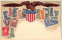 Stamp Card Postcard Showing American Postage Stamps Eagle & Shield~107980