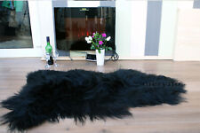Genuine Icelandic Black  Sheepskin Rug Amazing Soft Wool Long Wool  Grey White