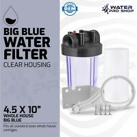"""Clear Whole House Big Blue Water Filter System,1"""" NPT + Sediment Filter 4.5x10"""""""