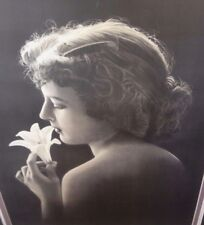 """Large Antique Photograph """"Stunning Lily Girl"""" Silhouette Hair Comb Nude Flower"""