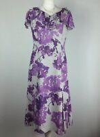 Jacques Vert Mauve Purple Midi Frill Ruffle Dress UK 10 Wedding Races Fit Flare