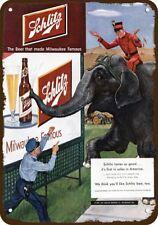 1951 SCHLITZ BEER Vintage Look Replica Metal Sign - POLICE COP & CIRCUS ELEPHANT