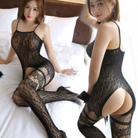 Fishnet Body Stockings Sleepwear Leopard Adult Bodysuit Womens Lingerie Babydoll