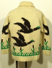 vintage men's shawl collar cardigan DUCK GEESE cowichan wool sweater 40-42 SHORT