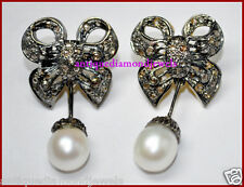 2.60ctw ROSE CUT DIAMOND PEARL ANTIQUE VICTORIAN 925 SILVER DANGLER EARRING