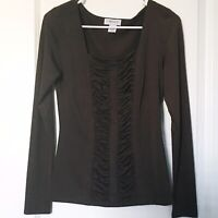 Carmen Marc Valvo Womens Small Top Ruched Front Long Sleeves Brown