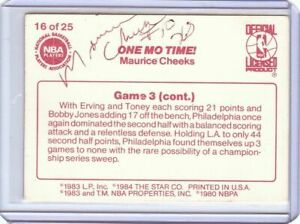 Maurice Cheeks Signed Autographed 1983-84 Star Basketball Card 76ers COA