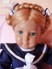 Schildkröt Puppe doll BRIGITTE  Echthaar 46 cm Matrosenkleidchen Repro/Nostalgie