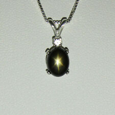 Natural 2-Carat Black Star Sapphire Necklace / Sterling Silver Star Sapphire