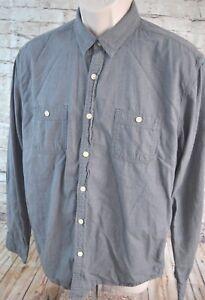 Lucky Brand Mens Dress Shirt Gray Size L Large California Fit 100% Cotton EUC