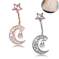 Surgical Steel Navel Rings Crystal Star Moon Belly Button Ring Bar Body Piercing