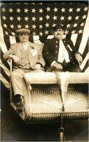 American portrait gentleman with flag RPPC postcard antique photograph