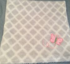 Gray White Diamond Pattern Pink Butterfly Plush Security Lovey Baby Blanket
