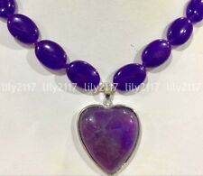 Natural Amethyst 13x18mm Heart shaped 30x30mm Gemstone necklace pendants 18'' AA