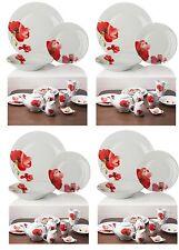 12PC Complete Dinner Set Plates Bowls White/Red Porcelain 4 Family Dining Set