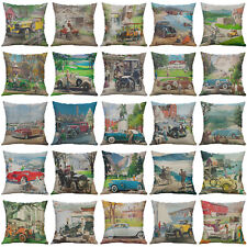 "18"" Vintage Car Cotton Linen Pillow Case Throw Cushion Cover Home Decor"