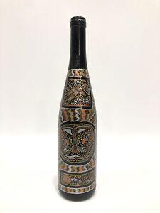 "Art Glass Gold/Silver Tones Butterfly Dots Pattern Bottle Home Decor 13""Tall"