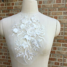 3D Embroidery Flower Lace Bridal Pearl Beaded Tulle DIY Wedding Dress Applique