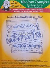 3862 Aunt Martha's Hot Iron on Transfers Pansies / Butterflies Embroidery