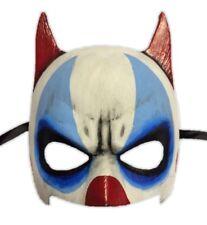 Devilish Halloween Clown Half Mask Adult Creepy Killer Jester Red Pointy Horns