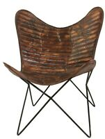 Astoria Butterfly Chair Iron Stand and Leather Cover Indoor Outdoor Chair