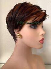short orange wig Ombré Dark Brown Wavy Pixie Cut Heat Resistance Ok