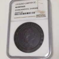 Great Britain 1797 Soho 2 Pence NGC Certified AU Details Environmental Damage